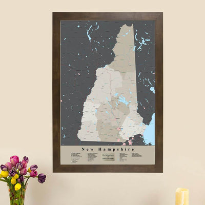 Earth Toned New Hampshire State Travel Pin Map main picture