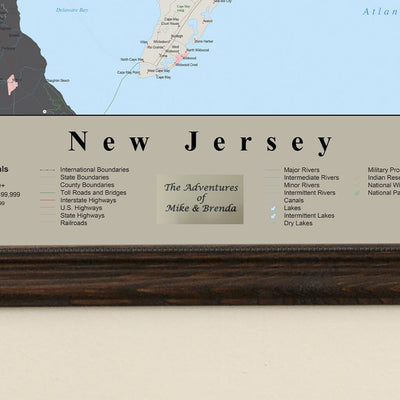 Earth Toned New Jersey State Travelers Map with Pins Plaque Location