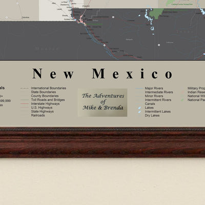 Earth Toned New Mexico Framed Travel Map plaque location