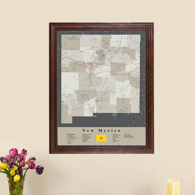Earth Toned New Mexico Framed Travel Map main picture