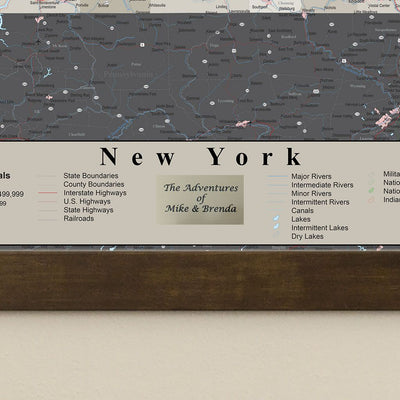 Earth Toned New York State Map plaque location