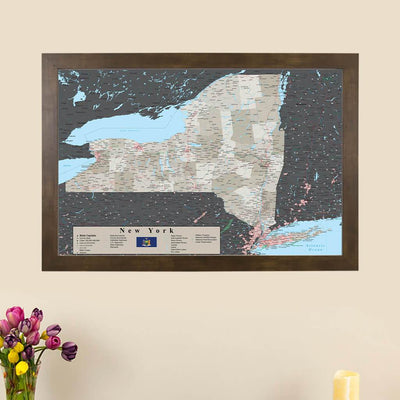 Earth Toned New York State Map with Pins main picture