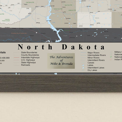 Earth Toned North Dakota Pin Travel Map Plaque Location