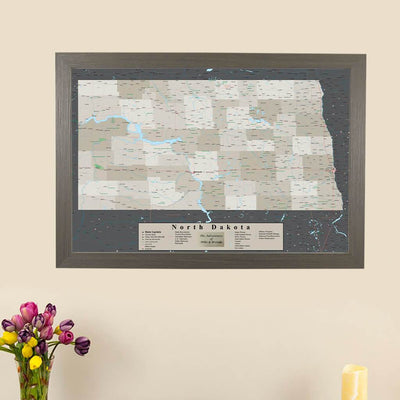 Earth Toned North Dakota Pin Travel Map Main Picture