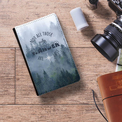Misty Forest Not all who wander are lost passport holder