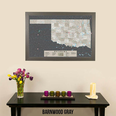 Earth Toned Oklahoma State Push Pin Travel Map Barnwood Gray Frame