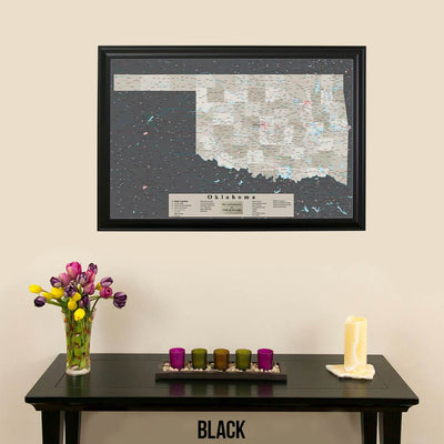 Earth Toned Oklahoma State Push Pin Travel Map Black Frame