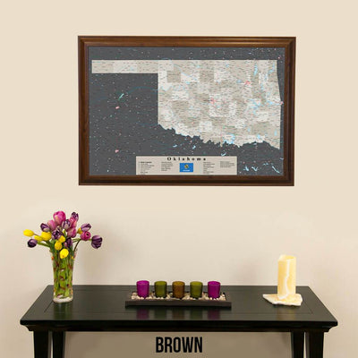 Earth Toned Oklahoma State Push Pin Travel Map Brown Frame