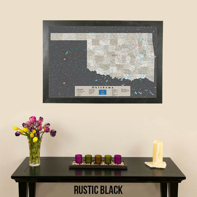 Earth Toned Oklahoma State Push Pin Travel Map Rustic Black Frame