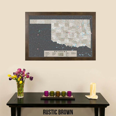 Earth Toned Oklahoma State Push Pin Travel Map Rustic Brown Frame