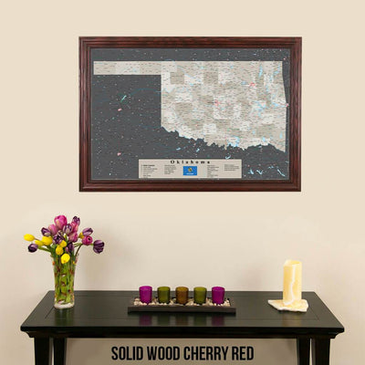 Earth Toned Oklahoma State Push Pin Travel Map Solid Wood Cherry Frame