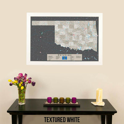 Earth Toned Oklahoma State Push Pin Travel Map Textured White Frame
