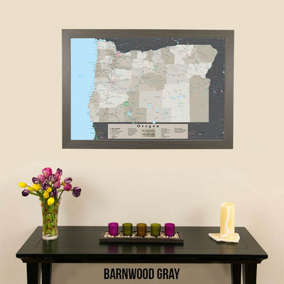 Earth Toned Oregon State Pin Travel Map Barnwood Gray Frame