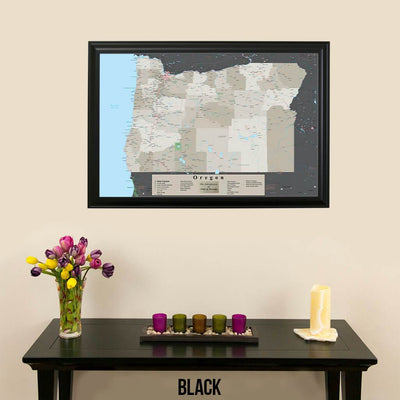 Earth Toned Oregon State Pin Travel Map Black Frame