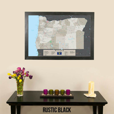 Earth Toned Oregon State Pin Travel Map Rustic Black Frame