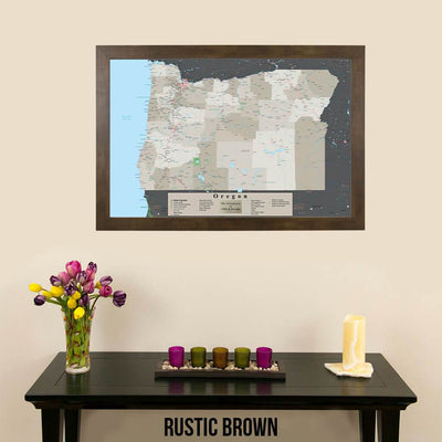 Earth Toned Oregon State Pin Travel Map Rustic Brown Frame