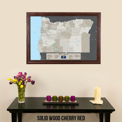 Earth Toned Oregon State Pin Travel Map Solid Wood Cherry Frame