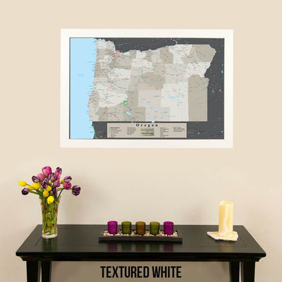 Earth Toned Oregon State Pin Travel Map Textured White Frame