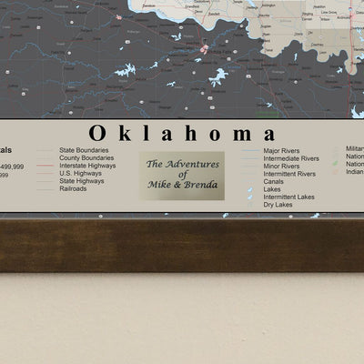 Earth Toned Oklahoma State Push Pin Travel Map Plaque Location