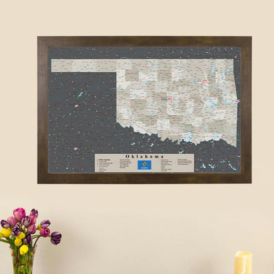 Earth Toned Oklahoma State Push Pin Travel Map main image
