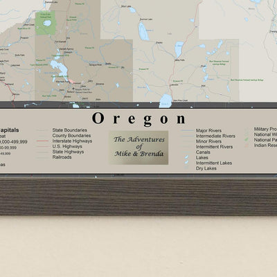 Earth Toned Oregon State Pin Travel Map Plaque Location