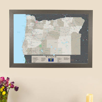 Earth Toned Oregon State Pin Travel Map main image