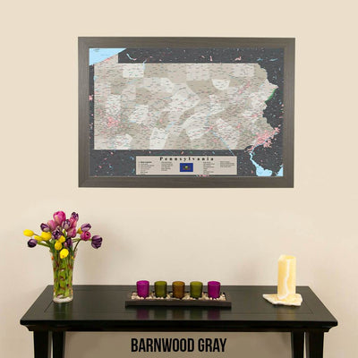 Earth Toned Pennsylvania State Push Pin Travelers Map Barnwood Gray Frame