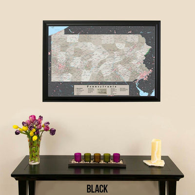 Earth Toned Pennsylvania State Push Pin Travelers Map Black Frame