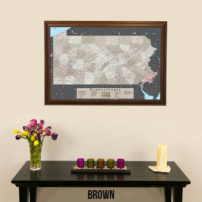 Earth Toned Pennsylvania State Push Pin Travelers Map Brown Frame
