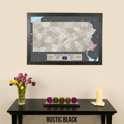 Earth Toned Pennsylvania State Push Pin Travelers Map Rustic Black Frame