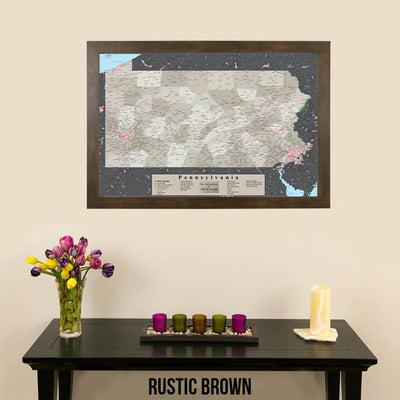 Earth Toned Pennsylvania State Push Pin Travelers Map Rustic Brown Frame