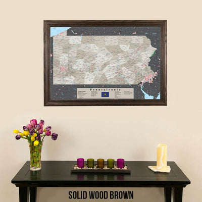 Earth Toned Pennsylvania State Push Pin Travelers Map Solid Wood Brown Frame