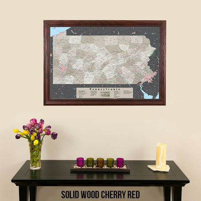 Earth Toned Pennsylvania State Push Pin Travelers Map Solid Wood Cherry Frame