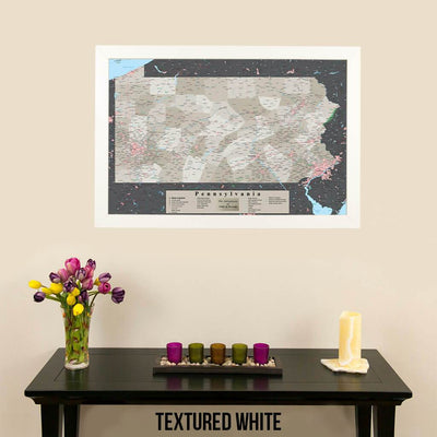 Earth Toned Pennsylvania State Push Pin Travelers Map Textured White Frame
