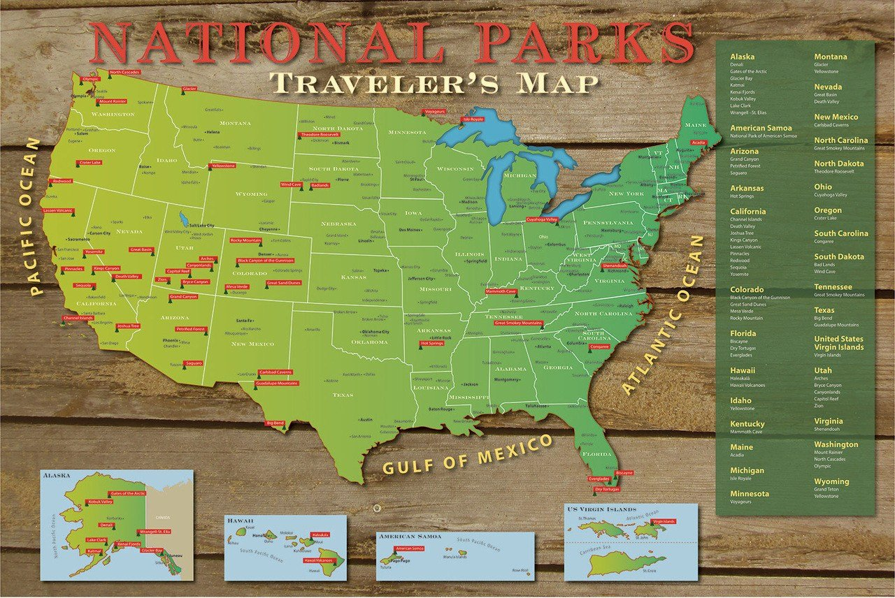 DIY US National Parks Push Pin Travel Map Kit