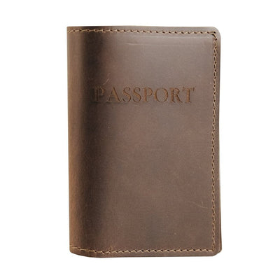 Dark Brown Leather Passport Holder