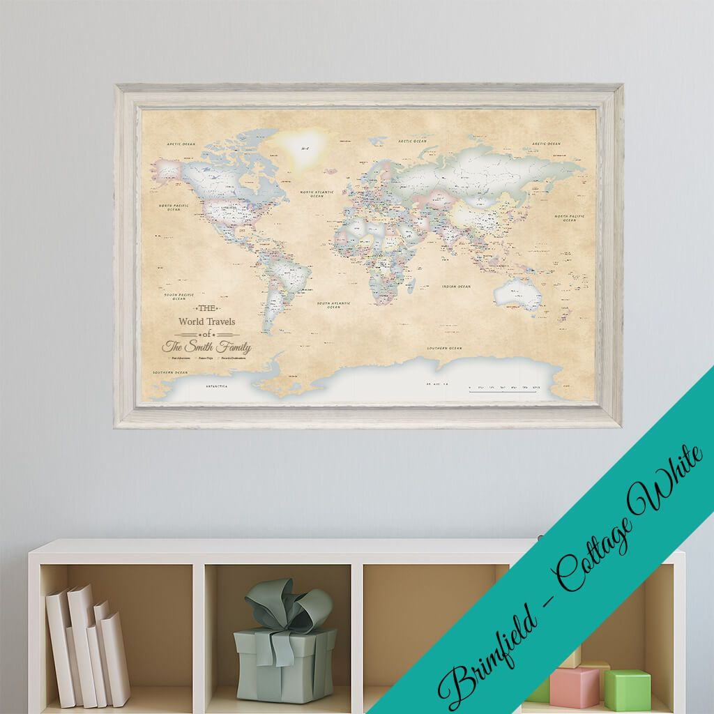 canvas pastel world map with brimfield cottage white frame