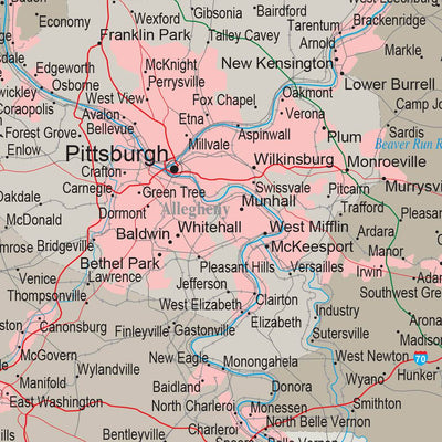 Earth Toned Pennsylvania State Push Pin Travelers Map Closeup