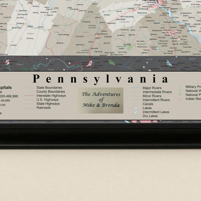 Earth Toned Pennsylvania State Push Pin Travelers Map Plaque Closeup