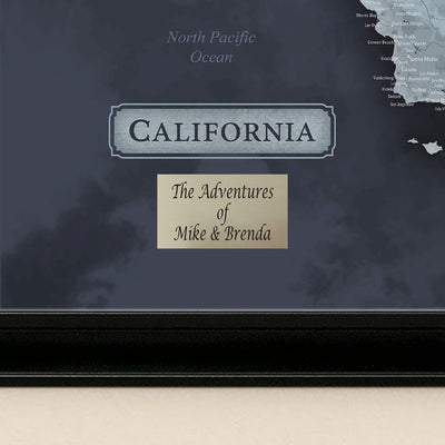 California Slate Map with pins Plaque Location