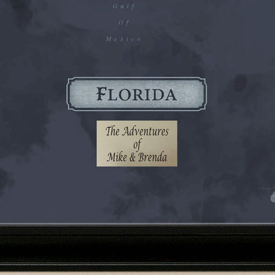 Florida Slate Travel Map with pins