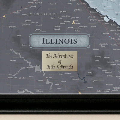Push Pin Travel Maps Illinois Slate Map with Pins Plaque Location
