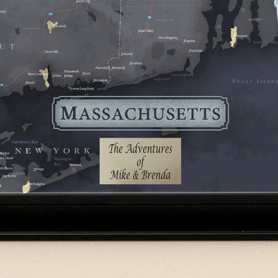 Push Pin Travel Maps Slate Gray Massachusetts Pin Map with Pins  Plaque Location