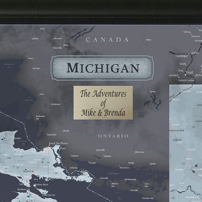 Push Pin Travel Maps Michigan Slate Travel Map with Pins Plaque Location