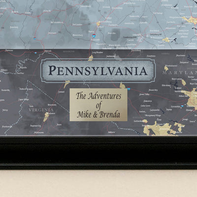 Push Pin Travel Maps Pennsylvania Slate Map Plaque Location
