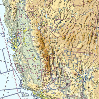 Gallery Wrapped Canvas VFR USA Pilot's Map Closeup West Coast