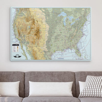 30x45 Gallery Wrapped Canvas VFR USA Pilot's Map