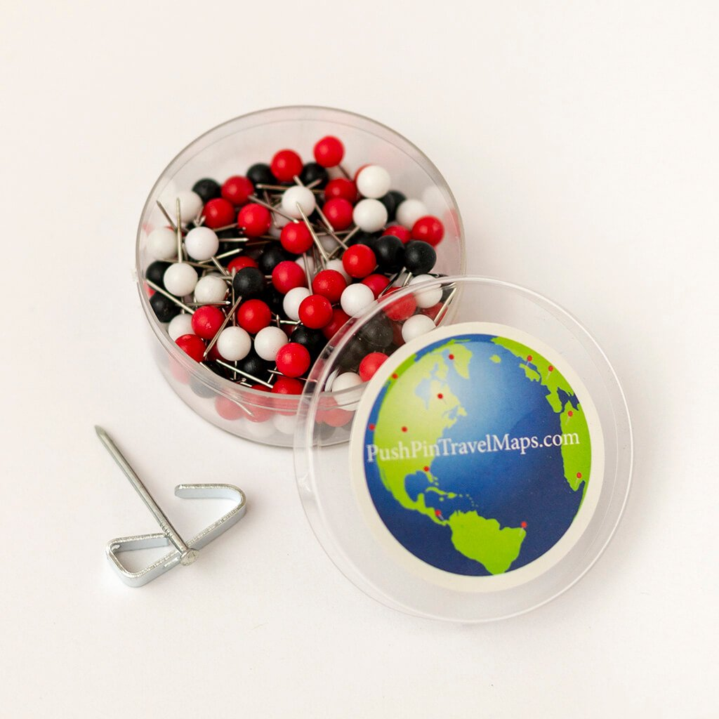 Map Pins in Black, Red, and White - Pack of 150 - For Maps Ordered After 8/31/19