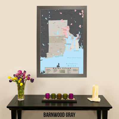 Earth Toned Rhode Island State Map Barnwood Gray Frame