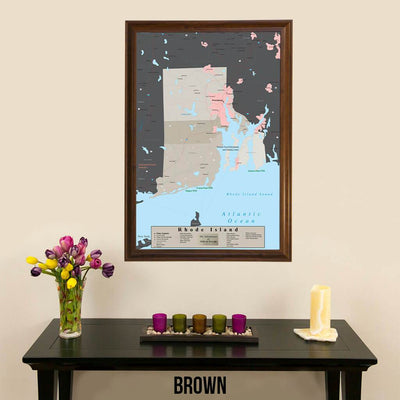 Earth Toned Rhode Island State Map Brown Frame